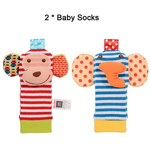 Twister.CK Baby Hochet, 4 pcs bébé hochet Poignet et Trouveur de Pied Set Chaussette Jouets Jouets d'éveil Animaux Mous développement Adorable Style de Singe et d'éléphant (2 éléphants + 2 singes)