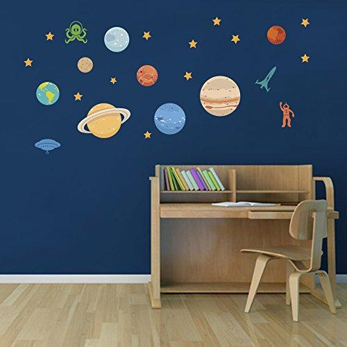 DecalMile Espacio Vinilos Planetas UFO Estrellas Pegatinas De Pared Desmontable Adhesivos Decorativos Para La Habitaciones De Los Niños Vivero Aula Infantiles Dormitorio
