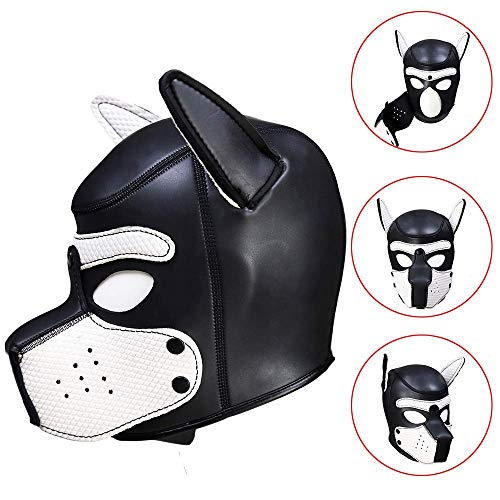 SM Bondage Sklaven Hood,Sexy Cosplay Puppy Mask, Volle Kopfmaske Gepolsterte Gummi Welpen Spielmaske,Werde der Sexy Welpe des Besitzers,Weiß,L (Lustiger Mensch Und Hunde Kostüm)