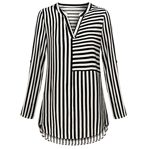 ESAILQ Damen Basic V-Ausschnitt Kurzarm T-Shirt Falten Tops -