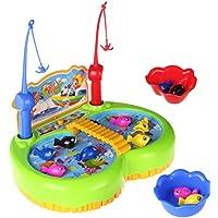 Electric Magnetic Juego de Pesca Mesa de Música de Rotación de Juguete Desarrollo Educativo Temprano para Niños de 3+ Años