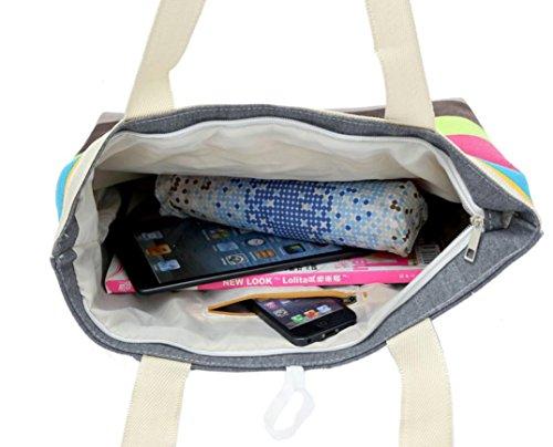 Vovotrade® signora strisce colorate borsa di tela borsa di acquisto (rosa caldo) rosa caldo