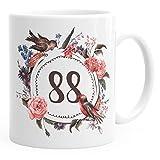 MoonWorks Geburtstags-Tasse 88 achtundachtig Geschenk-Tasse Kaffee-Tasse Blumen Blüten Blumenkranz Weiß Unisize