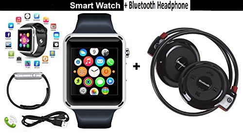CASVO Compatible Micromax GC222 Pack of 2 Bluetooht Headphone (Black) & A1 Silver Smart Watch Phone with Camera & SIM Card Support Touch Screen,Bluetooth Headphone For Smart Phones By CASVO  available at amazon for Rs.1999