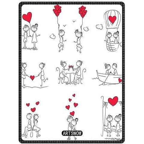 Artswow par Doodle con rojo forma de corazón personalizado manta de forro polar manta de interior/al aire libre manta de viaje, polar, Size-3, 40