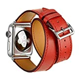FOTOWELT for Apple Watch Band, Doppel Tour-echtes Leder-Uhr-Band Luxus Cuff Bandwechsel für Apple-Uhr iWatch Modelle 38mm - Orange Rot