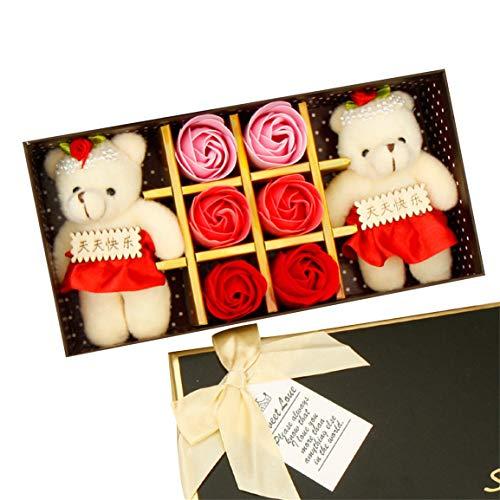 Savon Fleur 6 PCS Romantique Rose Savon Fleur Coffret avec Peluche Animal Jouets Ours poupée Bellelove