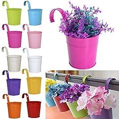 Idea Regalo - Hanging vaso di fiori assortiti, 10 pezzi, colorato rimovibile metallo vaso appeso su un balcone parete Garden Home Decor