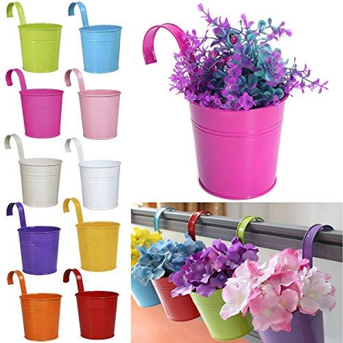 Hanging vaso di fiori assortiti, 10 pezzi, colorato rimovibile metallo vaso appeso su un balcone parete garden home decor