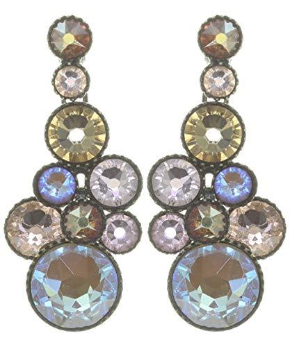 WATER CASCADE Ohrhänger Beige Rosa  KONPLOTT - Exklusiver Designer-Modeschmuck mit Swarovski Elements   Ohrring mit Glitzer-Steinen   Ohrstecker für Damen   Schönes Geschenk