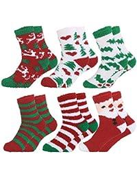 Fascigirl Calcetines de Navidad de 6 pares calcetines preciosos Calcetines de lana calcetines bordados calcetines para