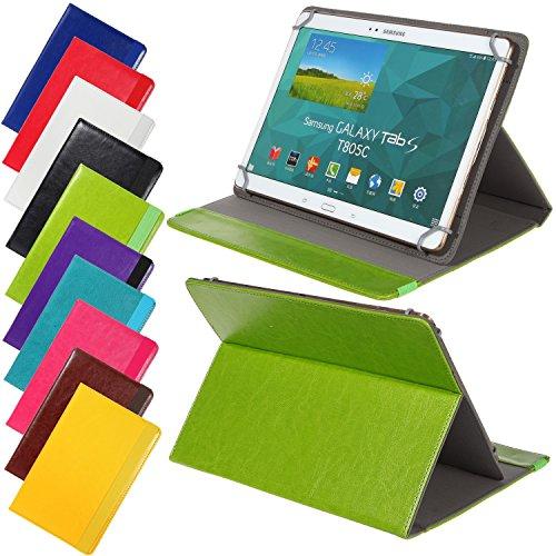 Universal elegante Kunstleder-Tasche für verschiedene Tablet Modelle (9 / 10 /10.1 Zoll, Grün) Größe Schutz Case Hülle Cover, Neigungswinkel verstellbar, mit Gummibandverschluss in gleicher Farbe