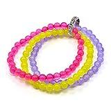 Silvesto India Pink, Yellow, Purple Quartz & 925 Silver Ring Stretchable Bracelet Jewelry PG-9072