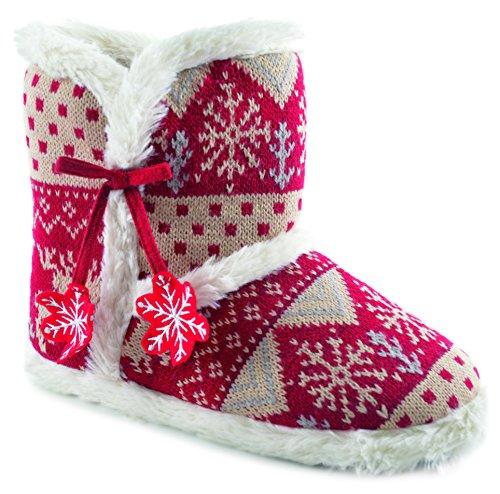 Womens/Mesdames Chaussures Chaussons de Ballet Pantoufles, pantoufles de Noël imprimé animal, différentes tailles et couleurs red