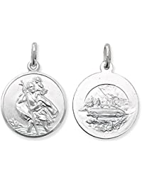 Childrens Sterling Silver Small Round Double Sided St Christopher Pendant On A Curb Necklace