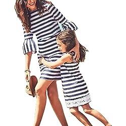 Vestido de niña de la familia Vestido de niña de la mamá Vestido de playa de la raya Vestido de niña de la falda mini de la mujer