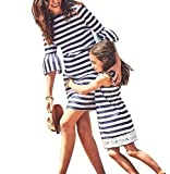 hellomiko Baby Kleid Mutter Tochter Unterstützung Sommer Streifen Kleid Frau Mädchen Mini Kleid Strandkleid