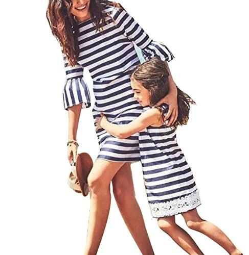 Family Match Kleidung Mama Baby Kleid Streifen Strandkleid Frau Mini Rock Girl - Einfach Tank Girl Kostüm