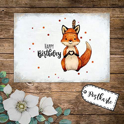 ilka parey wandtattoo-welt A6 Geburtstagskarte Postkarte Geburtstag Print Fuchs Indianerfuchs mit Spruch Happy Birthday Punkte pk237 - ausgewählte Menge: *1 Stück*