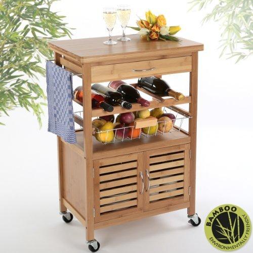 Torrex® Küchenwagen aus Bambus 88 x 36 x 60 cm Servierwagen Küchentrolley mit Schublade und Weinregal