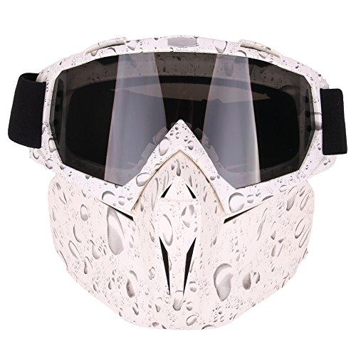 Motorrad Goggles Reiten mit abnehmbarem Helmet Face Mask Abnehmbare beschlagfrei Offroad Brillen verstellbar rutschfestem Tragegurt Kampf Motocross, Water drops
