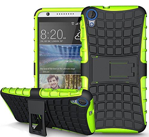HTC Desire 820 Hülle Nnopbeclik Hybrid 2in1 TPU+PC Schutzhülle Cover Case Silikon Rüstung Armor Dual Layer Muster Handytasche Backcover 360-Grad-Drehung ständer stoßfest Handy Hülle Tasche Schutz Etui Schale Bumper Pour HTC Desire 820[Schwarz+Grün]