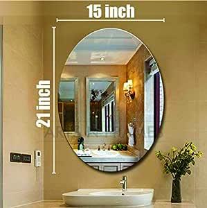 Creative Arts n Frames Oval Shape Wall Mirror for Bathroom, Bedroom, Drawing Room and Wash Basin (15 x 21 inch Size )