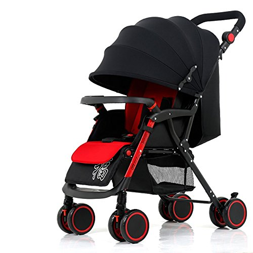 Carros de bebé de cuatro ruedas, carritos de bebé, carros de bebé, pueden sentarse y acostarse para doblar el carro de bebé ( Color : Negro )
