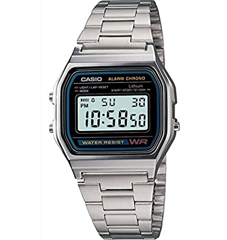 Casio Men's Classic Digital Retro Daily Alarm Micro Light Watch A158WA-1D Water Resistant