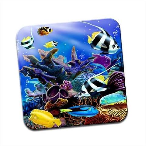 Scena di mare tropicale con coralli e pesci unico Coaster
