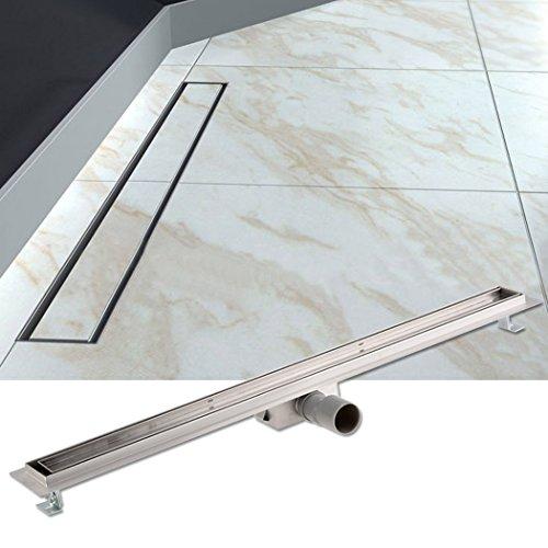 Duschrinnen mit Bodenbefestigung Edelstahl Flach Bodenablauf Dusche Befliesbar mit Haarsieb und Geruchsstopp 80cm
