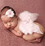 Unbekannt Baby Engel Baby Engel Kostüm Fotoshooting Fotos Engelsflügel Federn + Haarband Rosa