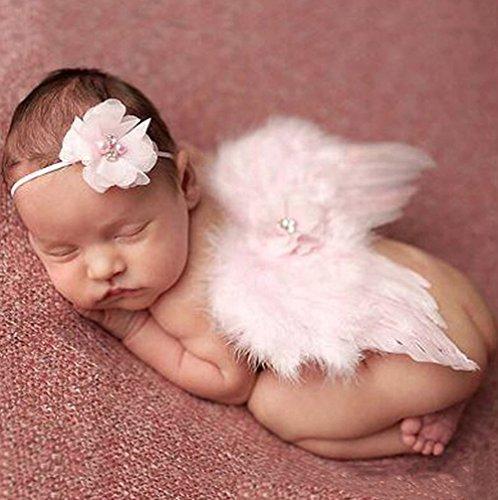(Unbekannt Baby Engel Baby Engel Kostüm Fotoshooting Fotos Engelsflügel Federn + Haarband Rosa)
