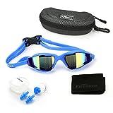 Lunettes de natation, lunettes de natation Firesara Grand cadre Confortable Anti brouillard Vision claire Aucune fuite de protection UV avec cas de protection et bouchons d'oreille pour les hommes adultes Femmes Jeunesse Enfants Enfant (Bleu)