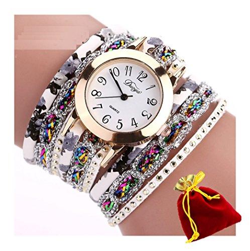 ebijoux 2069–[Brac Flow weiß] Armband Uhr Damen Armbanduhr–mit verstellbaren Riemen A 2Clip–Quarz–Tasche Velours rot und gold–perfekte Geschenk