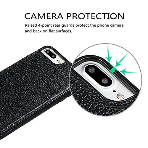 """xhorizon Erstklassiger weicher PU-Leder-magnetischer abnehmbarer Telefon-Kasten Tragetasche Geldbörse mit Kartensteckplätzen und Schlüsselanhänger Ring für iPhone 7 Plus / iPhone 8 Plus[5.5""""] Schwarz"""