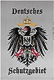 Deutsches Schutzgebiet wappen mit adler, silber, schild aus blech, tin sign,