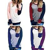 Damen Langarmshirt Baseball Langarm T-Shirt Rundhals Sweatshirt Frauen Patchwork Blusen Top Herbst von Sannysis