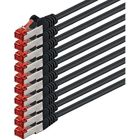 1aTTack - Cable de red SSTP PIMF con 2 conectores RJ45 de doble apantallamiento CAT 6 0 Negro - 10 piezas 3 m