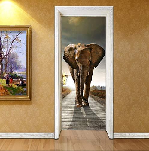 QTXINGMU 3D Auto-Adhesivo Pegatinas De Puerta Elefantes En La Carretera Dormitorio Carteles...