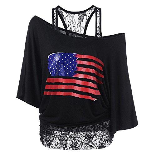 Longra T-Shirt con Stampa Rose Camicetta a Righe Senza Spalline Manica Corta Maglietta Donna Manica Corta Rose Stampe Blusa Asimmetrico Camicetta T-Shirt da Canotta da Donna (XL, Nero-3)