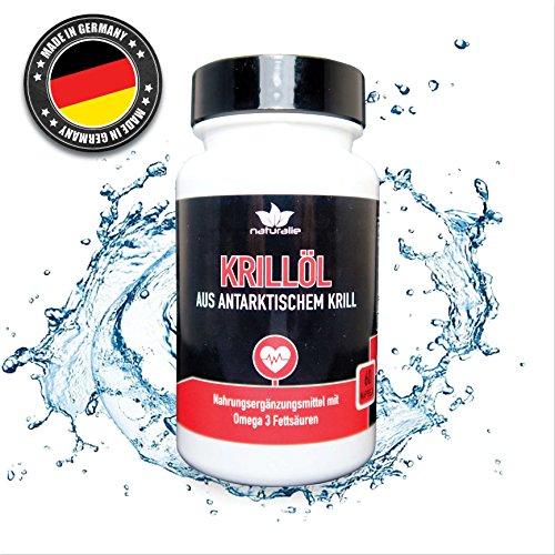 Krillöl Kapseln aus antarktischem Krill mit Omega 3 Fettsäuren - umfangreich SCHADSTOFFGEPRÜFT mit Laborgutachten - natürliche Quelle von Astaxanthin - hergestellt in Deutschland