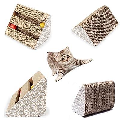 Cat Scratch Pad,Scratcher with Catnip,Scratching Posts,Cat Toy Scratching Board Lounge Set with Bell-Ball Cat Free Catnip by Ayuboom