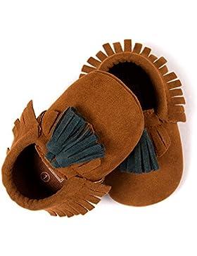 Hongfei Zapatillas de bebé Mocasines Botas de cuero de ante Botas de suela blanda para bebés y niños pequeños