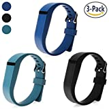 SnowCinda For Fitbit Flex Strap, 3PCS Adjustable Silicone Replacement Accessories Band with Clasps For Fitbit Flex Wireless Activity Tracker and Sleep Wristband (Black+Navy Blue+Slate)