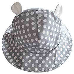 La Vogue Baby Cute Ears Bucket Hat Polka Dot Chin Strap Fisherman Cap Grey