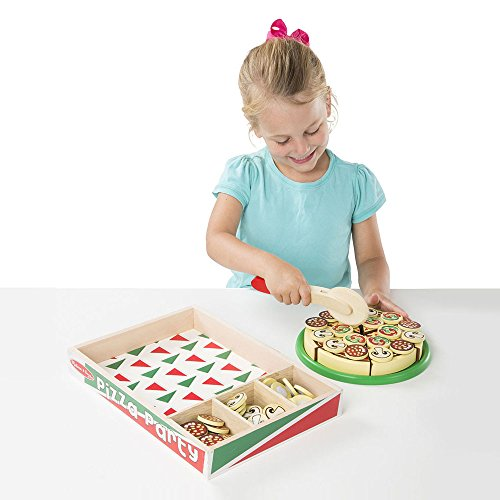 Melissa & Doug 167 Pizza Party Wooden Play Food Set With 54 Toppings - Multicolour, 266141