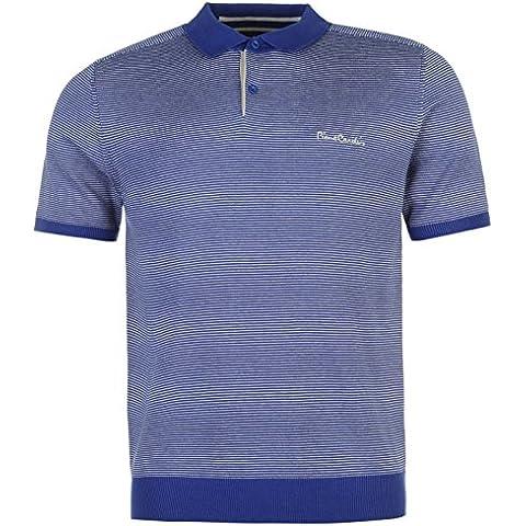 Pierre Cardin–Maglia a righe Polo da uomo Royal/argento TOP T-Shirt Tee, Royal/Silver, S