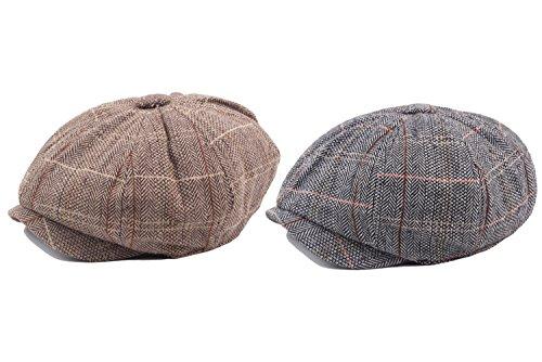 ffe1ca689a3 Decstore Paquete de 2 Hombres Beret de Algodón Plano Tapa Ivy Cabbie  Newsboy Hat Verano Sombrero