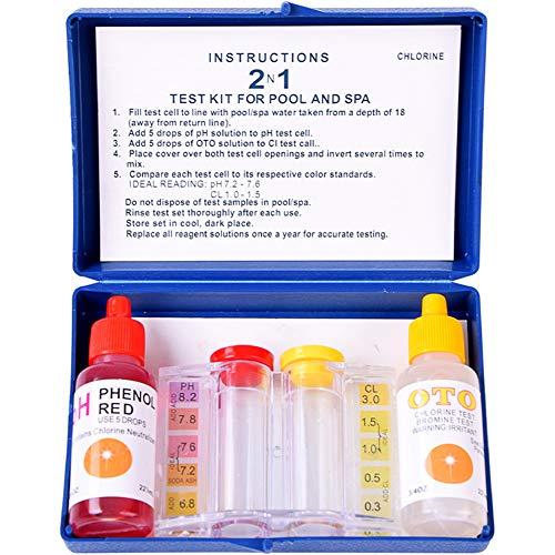 Wasserqualitätstest-Set für pH-Wert und Chlor, Schwimmbad Spa Reagent, Aquarium Hydrokultur-Tester, mit Colorimeter pH und Chlorreagenstoff, blau